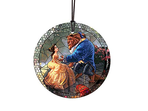 Disney Beauty and the Beast (Stained Glass Style) StarFire Prints Glass Ornament - Home and Christmas Tree Decoration