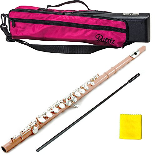 PAITITI Velvet Pink Plated Silver Key Close Hole C Flute, Guarantee Top Quality Sound with Lightweight Case, Case Cover and More by Paititi