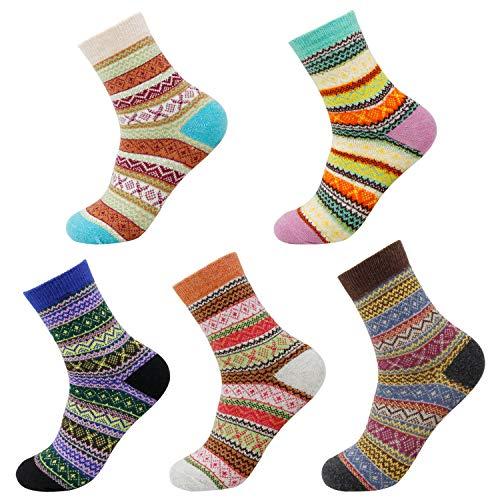 Blisstime 5 Pairs Women Wool Socks, Thick Vintage Knit Warm Winter Crew Socks, Christmas Gift