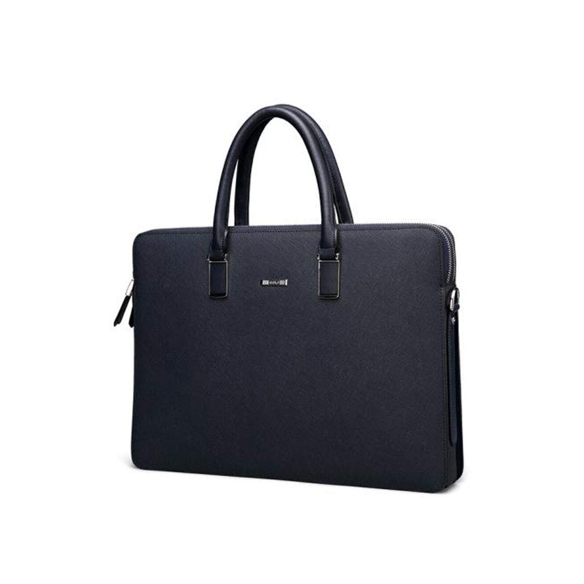 Black Double Zipper 8haowenju Briefcase Classic Mens Computer Bag Double Zipper Mens Handbag Size: 38.86.528.5cm Color : Blue