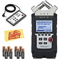 Zoom H4n Pro Handy Mobile 4-Track Recorder - Bundle With Zoom RC-4 Remote Control for H4 Handy Recorder, 2x 4AA Batteries, Microfiber Cloth