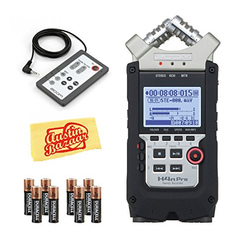 Zoom H4n Pro Handy Mobile 4-Track Recorder - Bundle RC-4 Remote Control for H4 Handy Recorder, 2X 4AA Batteries, Microfiber Cloth