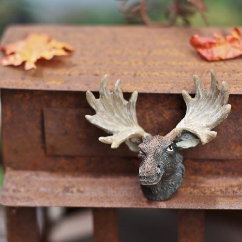 Package of 2 Miniature Moose Heads with Large Antlers for Dollhouses, Craft Displays, and Embellishing]()
