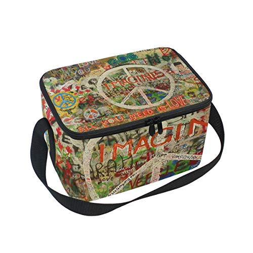 Peace Sign Graffiti Lunch Box Insulated Lunch Bag Large Cooler Tote Bag Picnic School Women Men Kids