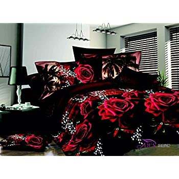 Queen Size 3d Bedding Sets,100% Cotton,Red Rose Black Print 4 Piece