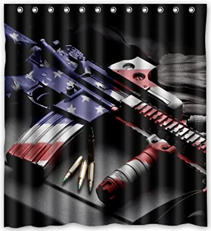 Amazon Cool Design Army Gun Sniper Rifle Weapons Shower Curtain