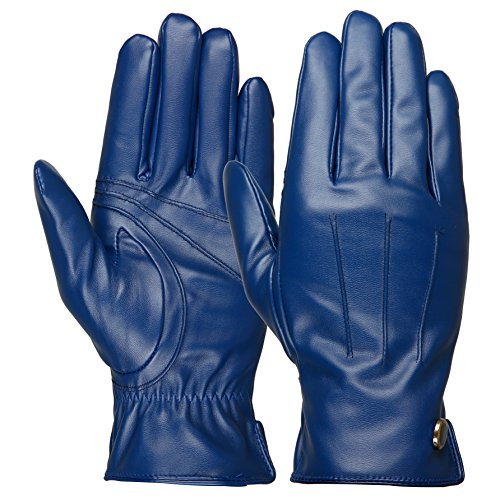 Luxina Winter Warm Gloves Touchscreen Texting Gloves Faux Leather Outdoor Cycling Driving Gloves For Men Blue 9