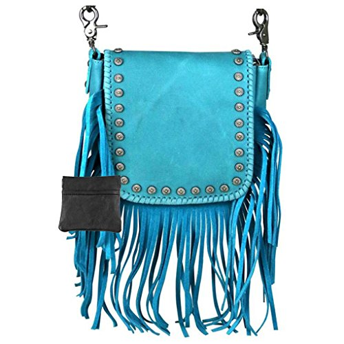 - Handcrafted Leather 4 in 1 Bundle Clutch Crossbody Biker Bag w Fringe & Coin Key Fob (Turquoise with Vintage Floral Tooling)