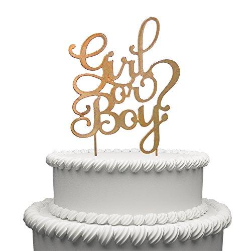 Hatcher lee Girl or Boy Cake Topper Gold Metal Baby Shower Party Decoration