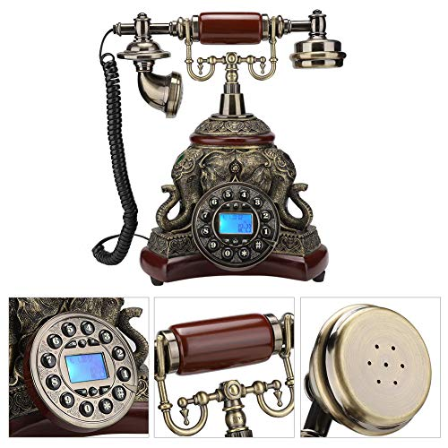 Retro Landline Phone,Retro Vintage Wired Telephone Antique Dial Desktop Phone,Electronic Calendar,Date,Clock and Week Display,Suitable for Gift,Living from Bewinner