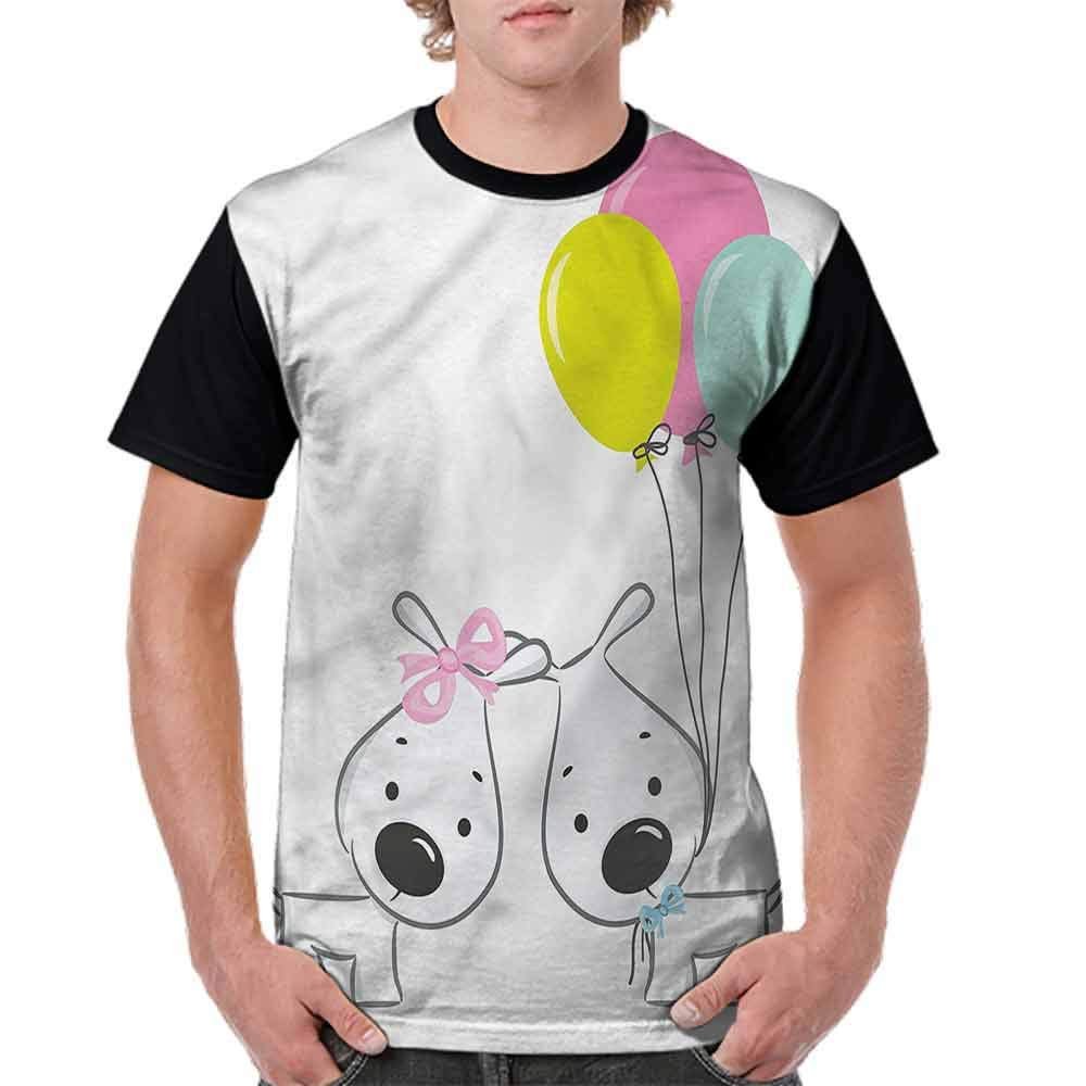 Classic T-Shirt,Girl and Boy Dog with Balloons Fashion Personality Customization