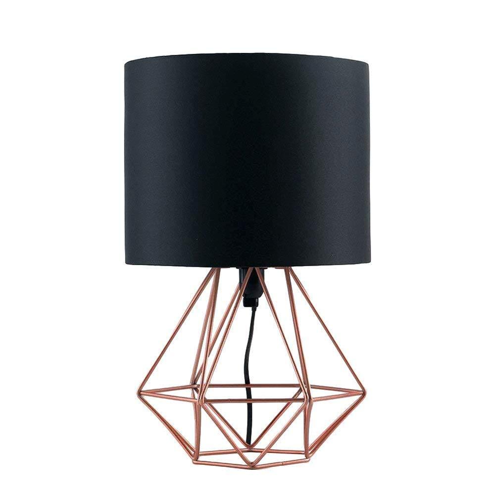 IhDFR Moderne minimalistische Schlafzimmer Büro Wohnzimmer Tischlampe Europäischen Stil Metall Kreative Schwarz E27 Tischleuchte