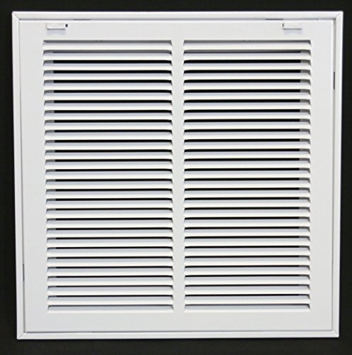 14 X 14 Steel Return Air Filter Grille for 1 Filter - Removable Face/Door - HVAC DUCT COVER - Flat Stamped Face - White [Outer Dimensions: 16.5w X 16.5h]