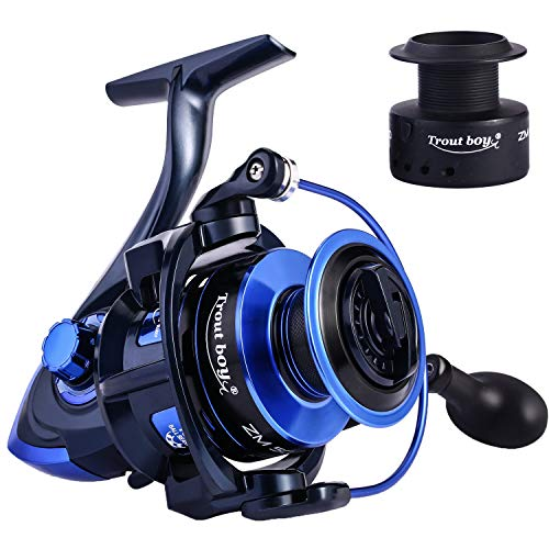 TROUTBOY Spinning Fishing Reel -Unique Main Body, T6 Doluble Anodized Aluminum Spool,13+1 Double Shielded Stainless Steel Ball Bearings, Free Spare Graphite Spool