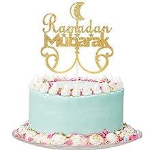 Gold Glitter Ramadan Mubarak Cake Topper - Ramadan Mubarak Decorations, Ramadan Party Sopplies, Muslim Islam Hajj Party Decoration