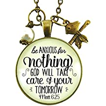 """24"""" Be Anxious for Nothing Necklace Matt 6 25 Christian Shabby Vintage Bronze 1.20"""" Round Glass Jewelry Bird Charm"""