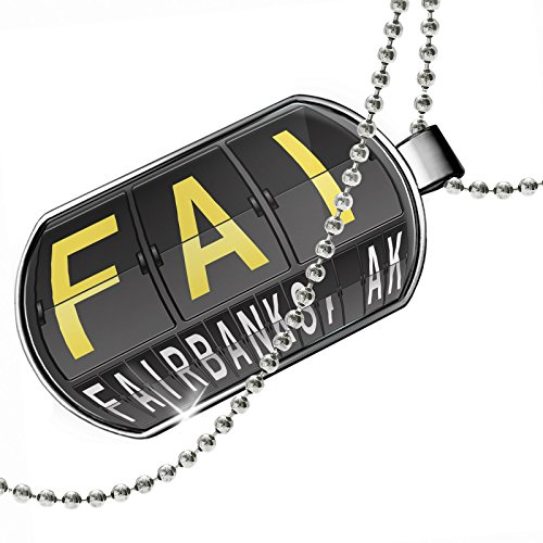NEONBLOND Dogtag FAI Airport Code for Fairbanks, AK Dog Tags Necklace