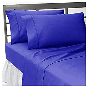 solid royal blue 600 thread count egyptian cotton bed sheet set with 15 extra deep. Black Bedroom Furniture Sets. Home Design Ideas