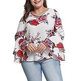 Alixyz Ladies Casual Blouse Women's Bell Sleeve Loose Tops Flower Print Plus Size Shirt