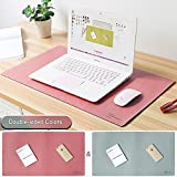 CenterZ 24.1 x 13.5 Double Sided Desk Blotter Mat/Mousepad, XXL Extended Waterproof Microfiber Leather PC Gaming Keyboard Mouse Pad for Laptop, Desktop Computer of Office Home Writing Table (Pink)