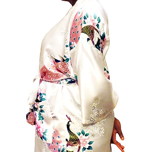 Gifts Are Blue Floral Satin Womens Plus Size Robes, Lightweight, Sizes 20-38, Knee Length (White, 6XL / 28W - 38W) by Gifts Are Blue (Image #3)
