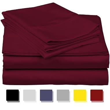 True Luxury 1000-Thread-Count 100% Egyptian Cotton Bed Sheets, 4-Pc King Burgundy Sheet Set, Single Ply Long-Staple Yarns, Sateen Weave, Fits Mattress Upto 18'' Deep Pocket