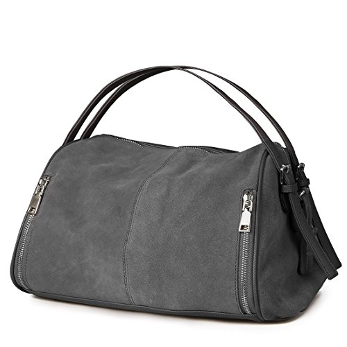 Nico Louise Women Boston Bag Genuine Suede Leahter Shoulder Travel Bag Casual Handbag(Dark (Suede Boston Bag)
