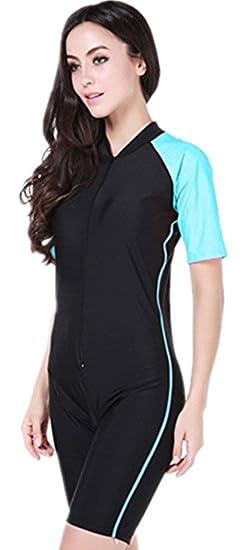 b7dc22c1c1a3f YEESAM® Girls   Ladies Modesty Jumpsuit One Piece Swimsuit Surfing Suit  Short Sleeve UPF 50