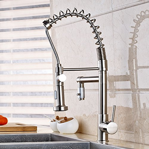 Oulantron Brushed Nickel Single Hole Kitchen Sink Faucet Two-water Model Spray Mixer Tap Brushed Nickel