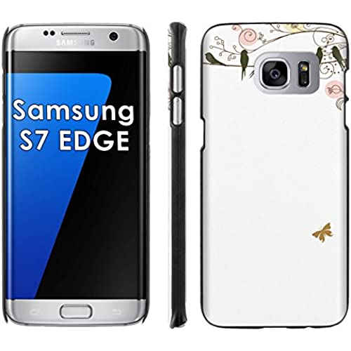 Samsung Galaxy [S7 EDGE] Phone Cover, Birds and Butterflies- Black Slim Clip-on Phone Case for [Samsung Galaxy Sales