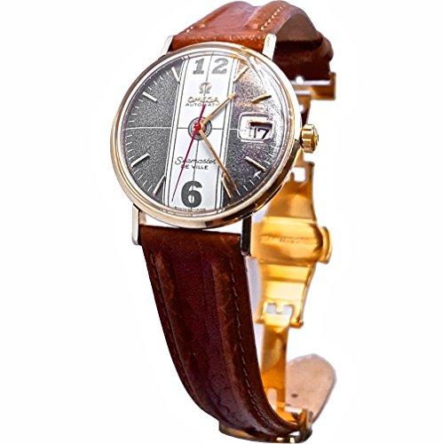 Vintage-1968-Omega-Seamaster-De-Ville-Watch-Grey-Dial-with-Carbon-Fiber-Black-Band