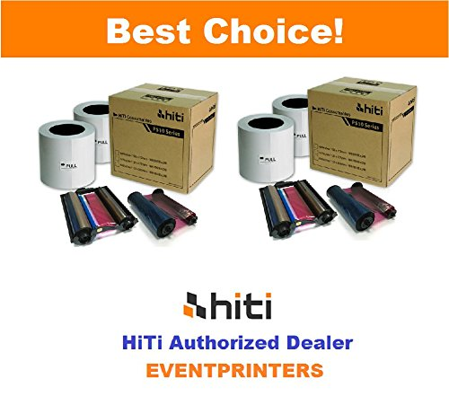 TWO BOXES OF HiTi 4x6'' media for Hiti P510 series printers (TOTAL 1320 PRINTS). Paper & ribbon kit. Comes with FREE SAMPLES of our best selling photo folders (EVENTPRINTERS BRAND). by Hiti and Eventprinters