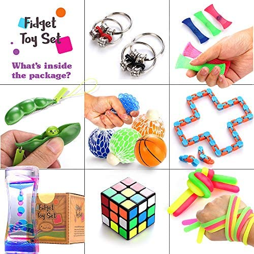 N\C Push pop Bubble Fidget Sensory Toy pop it Fidget Toy A popitz Fidget Toy That can Relieve Stress and Anxiety of Children and Adults 4 Marble mesh Fidget Toys and 1 Bike Chain Fidget Toy