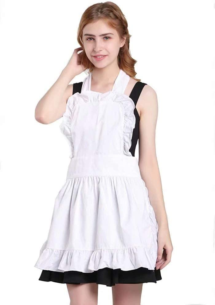 Pavel Korchagin Fancy Cute Frilly Kitchen Apron 100% Cotton Flirty Women Ladies Waitress Vintage Maid Costume Adjustable for Work Cafe Baking Cooking Home Shop Salon Florist for Gift (White)