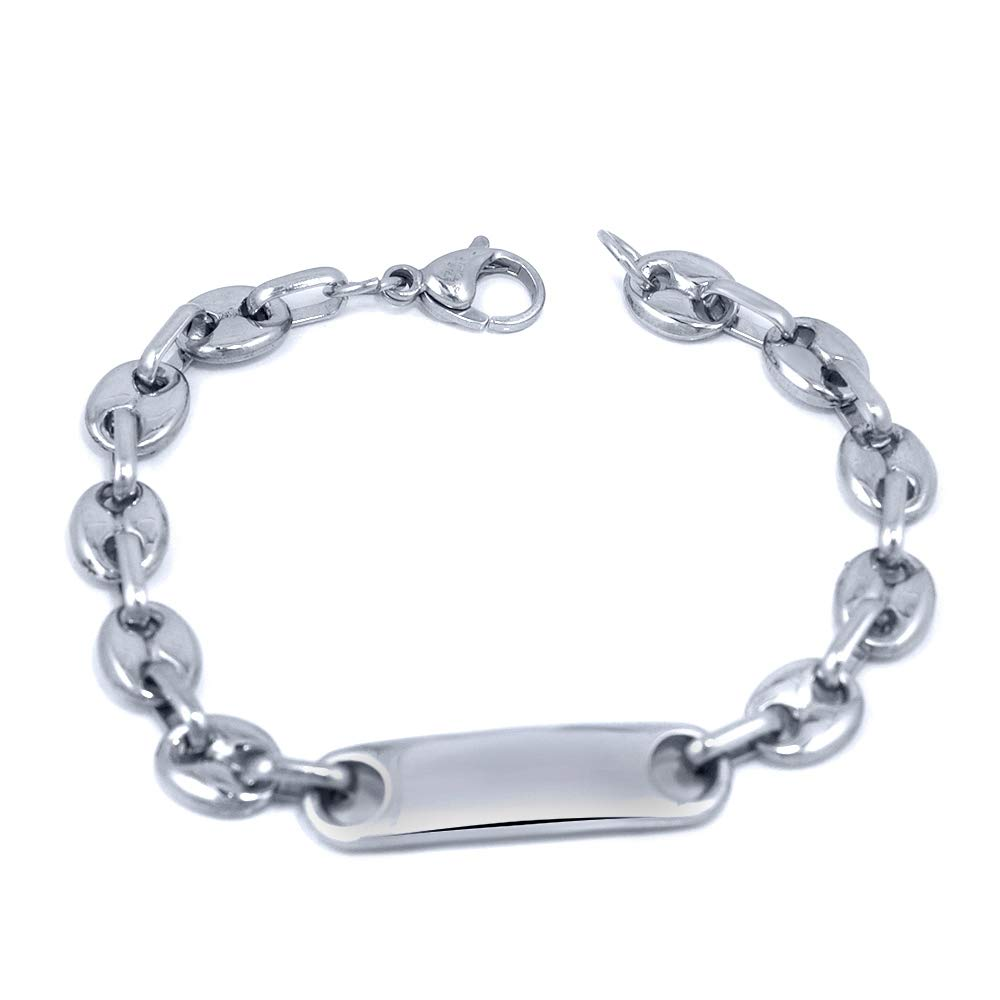 17cm Pascollato Jewelry Engravable Stylish Girls Stainless Steel Link ID Bracelet Silver-Tone 6.5 Inch