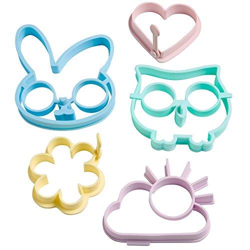 VonShef Silicone Egg Ring Mould Set of 5 includes Rabbit, Owl, Sun, Flower & Heart (Egg Flower)
