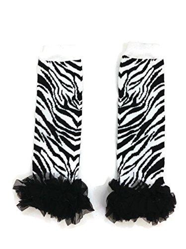 Rush Dance Animal Chiffon Ruffles Baby/Toddler Leg Warmer (One Size, Zebra - Black Ruffles) (For Zebra Babies Tights)