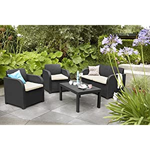 Keter-Carolina-Outdoor-4-Seater-Rattan-Lounge-Table-Garden-Furniture-Set-Graphite-with-Cream-Cushions