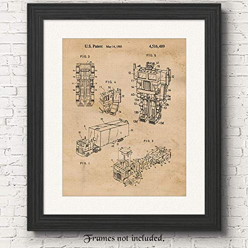 Original Transformers Truck Optimus Prime Patent Poster Prints, Set of 1 (11x14) Unframed Photo, Great Wall Art Decor Gifts Under 15 for Home, Office, Shop, Student, Teacher, Comic-Con & Movies Fan