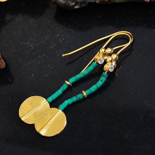 925 Silver Handmade Turkish Designer Malachite Earrings Omer 24k Gold Plated