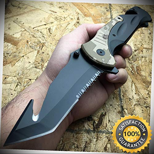 10.5'' HUGE MILITARY CAMO Spring Assisted Pocket Rescue Knife Gut Hook - Outdoor For Camping Hunting