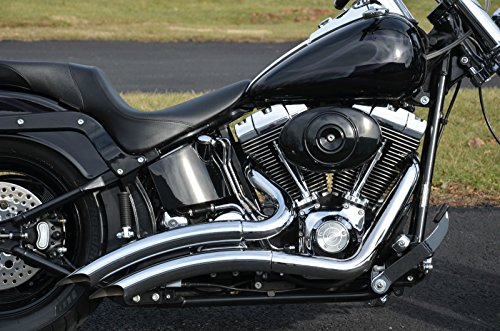 Exhaust Drag Pipe - ACCESSORIESHD - LSD Big Radius Style STEALTH Exhaust Drag Pipes For Harley Softail W/ Heat Shield
