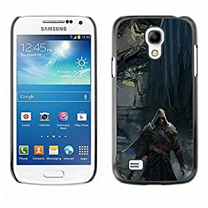 KLONGSHOP // Cubierta de piel con cierre a presión Shell trasero duro de goma Protección Caso - Asesino oscuro - Samsung Galaxy S4 Mini i9190 //
