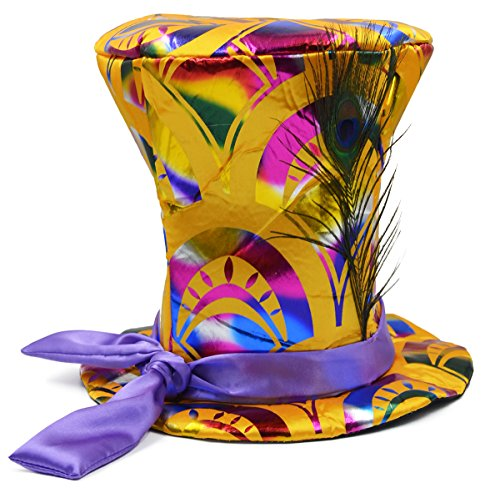 [Costume Accessory Party Carnival Halloween Gold Mad Crazy Magician Top Hat with Peacock Feather] (Crazy Magician Costume)
