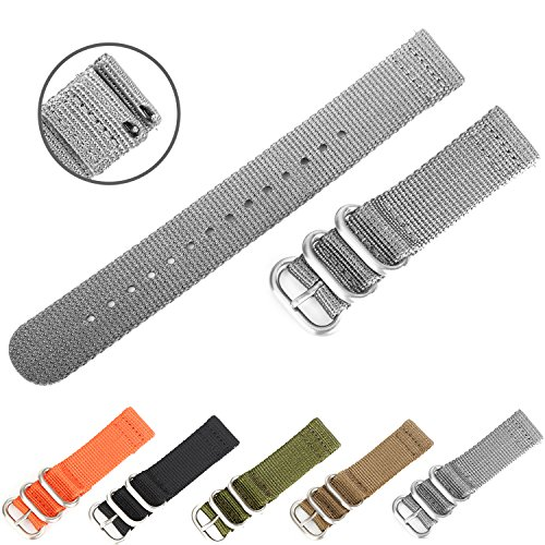 Easy Replacement Watch Bands, Boonix Quick-Change Ballistic Nylon Band for Men & Women [22mm Gray]