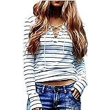 Long Sleeve Tops JUNKE Women Stripe T-Shirt Blouse (S)