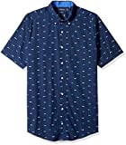 Nautica Men's Big Short Sleeve Signature Print Button Down Shirt, Maritime Navy, 5XLT Tall