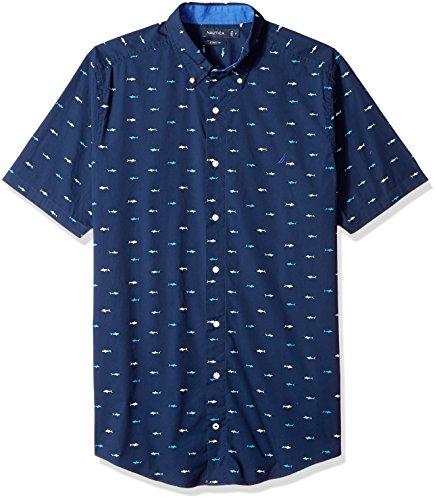 Nautica Men's Big Short Sleeve Signature Print Button Down Shirt, Maritime Navy, 3XLT Tall