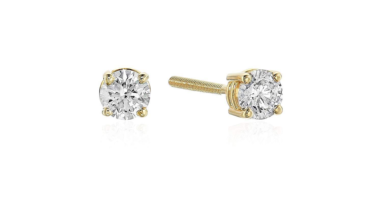 Certified 1/5 CttwBrilliant-Cut Diamond Classic 4-Prong Screw Back Stud Earrings (Color J-K, Clarity I2), 14K Yellow Gold