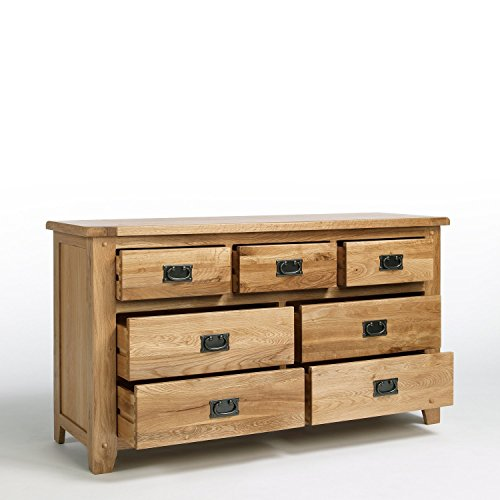 Cotswold Rustic Solid Oak 3+4 Chest of Drawers 7 Drawer Chest